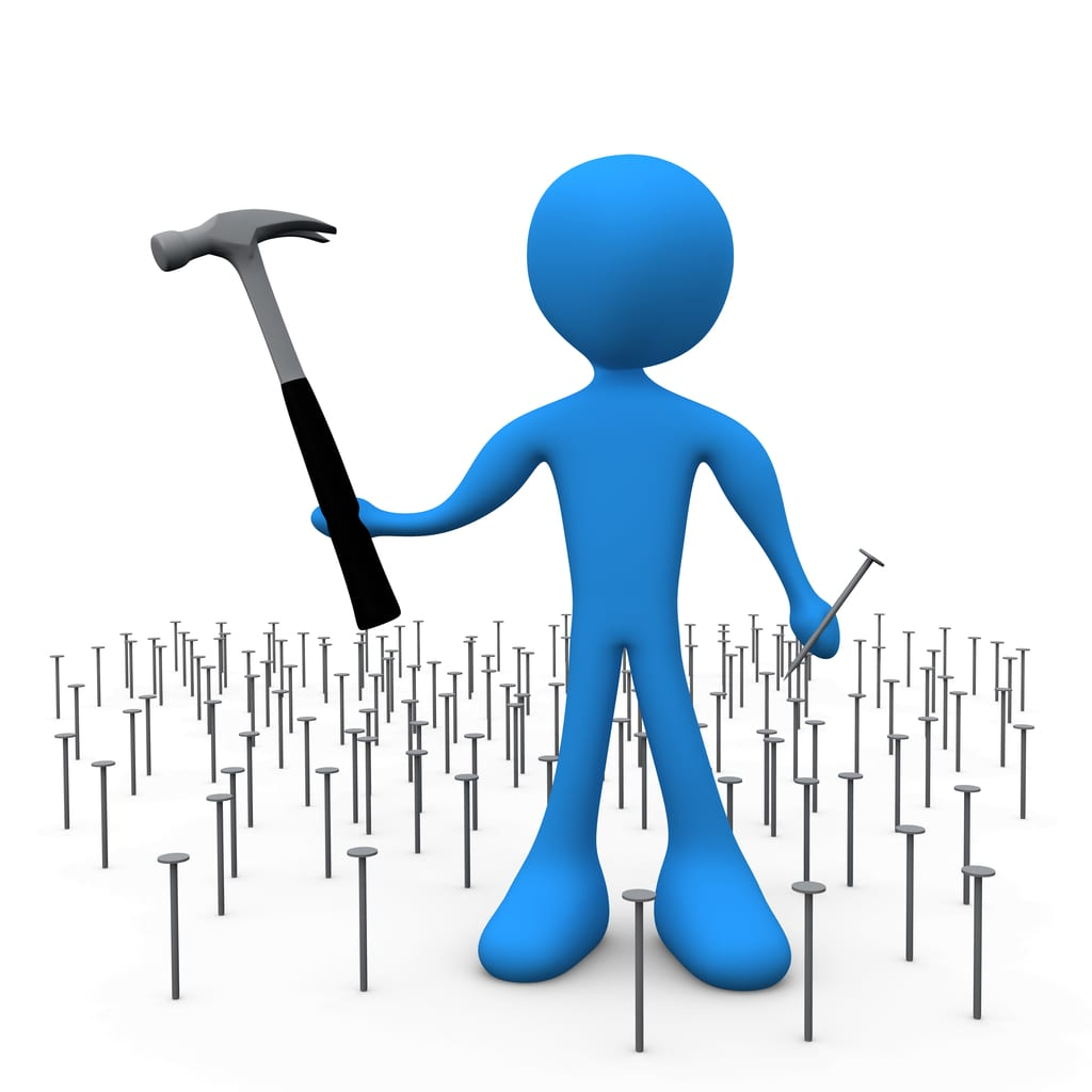 ... While Standing In A Patch Of Many Nails Clipart Illustration Image