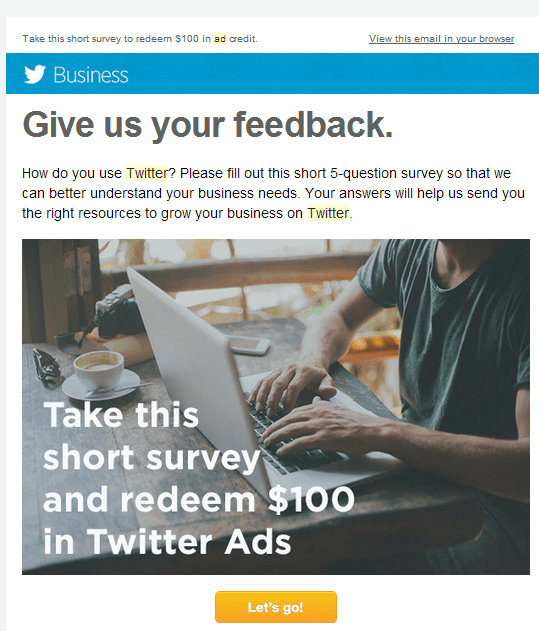 2014-05-12 21_34_59-Fwd_ Receive a $100 ad credit to help us better understand your Twitter needs -